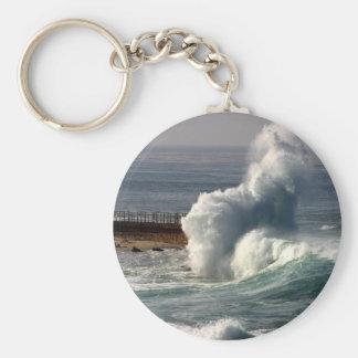 Waves Crashing Seals La Jolla Basic Round Button Keychain