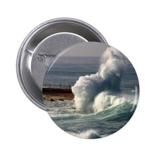 Waves Crashing Seals La Jolla Pinback Buttons