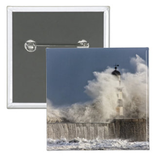 Waves Crashing Up Against A Lighthouse 2 Inch Square Button