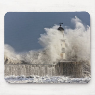 Waves Crashing Up Against A Lighthouse Mouse Pad