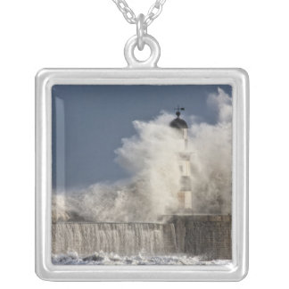 Waves Crashing Up Against A Lighthouse Square Pendant Necklace