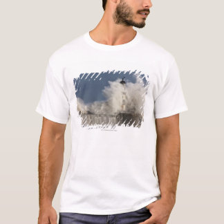 Waves Crashing Up Against A Lighthouse T-Shirt