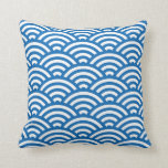 Waves Geometric Pillow in Dazzling Blue