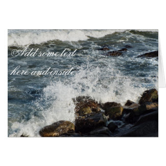 Waves hit rocks card