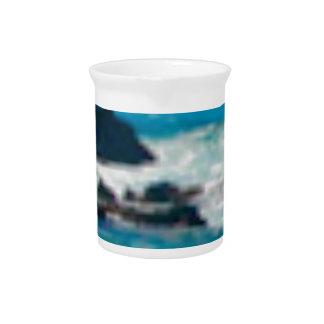 waves hit rocks on sea beverage pitcher