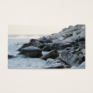 Waves Hitting Large Rocks on the Shore Business Card
