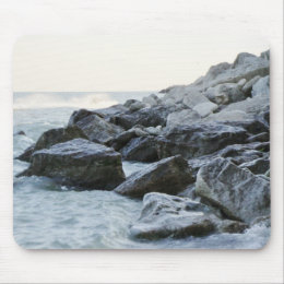 Waves Hitting Large Rocks on the Shore Mouse Pad