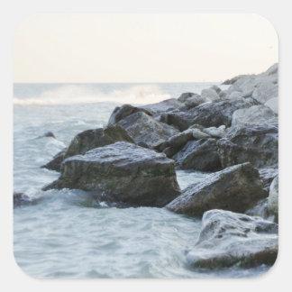 Waves Hitting Large Rocks on the Shore Square Sticker