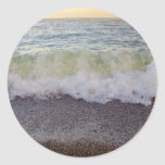 Waves Hitting the Beach Shore 2 Round Stickers
