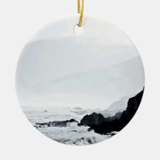 waves hitting the reef Double-Sided ceramic round christmas ornament