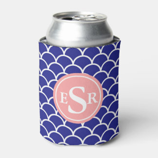 Waves,Japanese Fish Scale Monogram Pattern Can Cooler