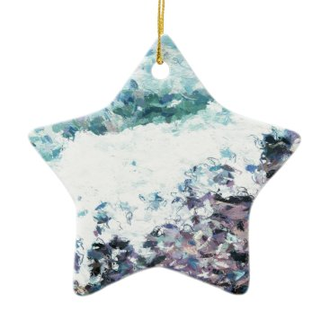 Waves lap at the shore - painting - art gift - abs ceramic ornament