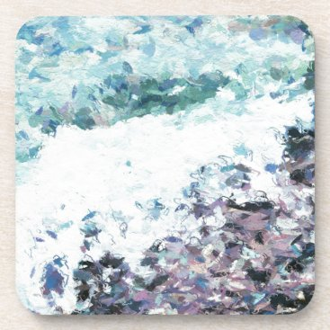 Waves lap at the shore - painting - art gift - abs drink coaster