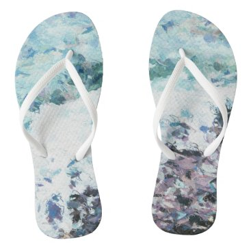Waves lap at the shore - painting - art gift - abs flip flops