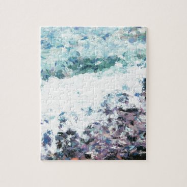 Waves lap at the shore - painting - art gift - abs jigsaw puzzle