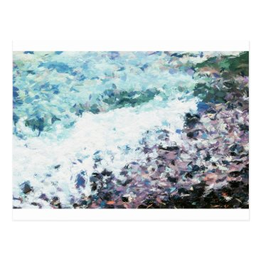 Waves lap at the shore - painting - art gift - abs postcard