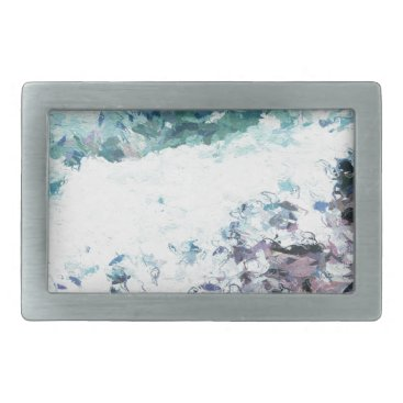 Waves lap at the shore - painting - art gift - abs rectangular belt buckle