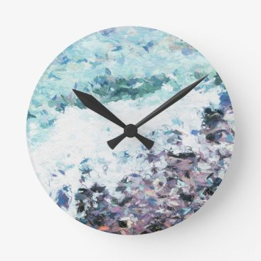 Waves lap at the shore - painting - art gift - abs round clock