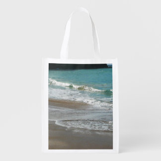 Waves Lapping on the Beach Reusable Grocery Bags