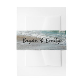 Waves Lapping on the Beach Tropical Turquoise Invitation Belly Band
