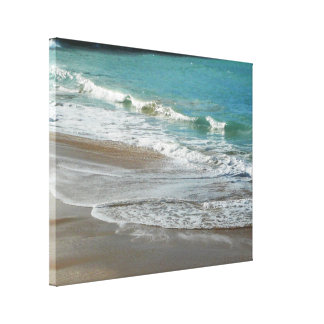 Waves Lapping on the Beach Turquoise Blue Ocean Canvas Print