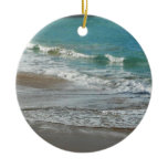 Waves Lapping on the Beach Turquoise Blue Ocean Ceramic Ornament