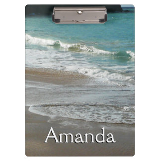 Waves Lapping on the Beach Turquoise Blue Ocean Clipboard