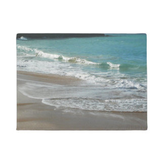 Waves Lapping on the Beach Turquoise Blue Ocean Doormat