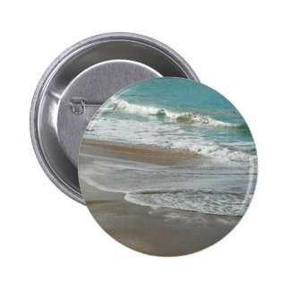 Waves Lapping on the Beach Turquoise Blue Ocean Pinback Button