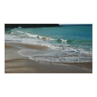 Waves Lapping on the Beach Turquoise Blue Ocean Poster