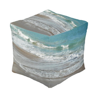 Waves Lapping on the Beach Turquoise Blue Ocean Pouf
