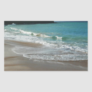 Waves Lapping on the Beach Turquoise Blue Ocean Rectangular Sticker