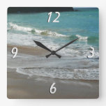 Waves Lapping on the Beach Turquoise Blue Ocean Square Wall Clock