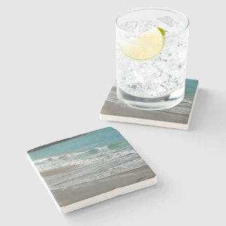 Waves Lapping on the Beach Turquoise Blue Ocean Stone Coaster