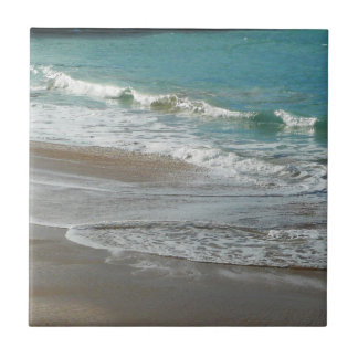 Waves Lapping on the Beach Turquoise Blue Ocean Tile