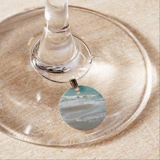Waves Lapping on the Beach Turquoise Blue Ocean Wine Glass Charm