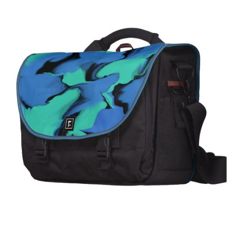 Waves of Black and Bllue Sumo Design Commuter Bag