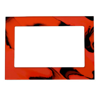 Waves of Black and Red Magnetic Picture Frame