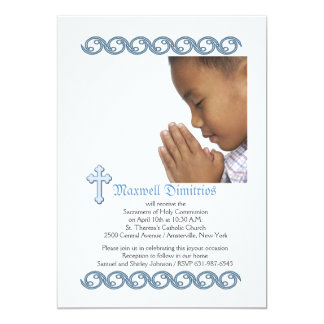 Waves of Blue Religious Photo Invitation