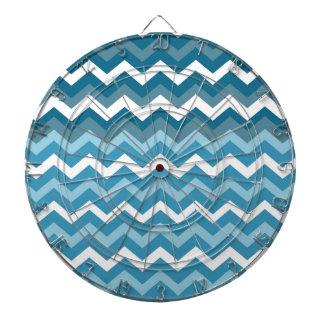 Waves of Chevron Blue Zigzags Dart Board