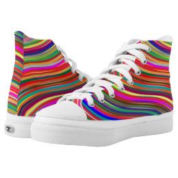 Waves of Color Curved Line Stripe Pattern High-Top Sneakers