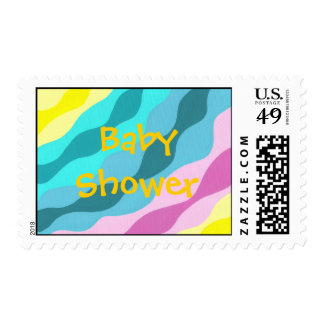 Waves of colors, Colorful Baby Shower stamps