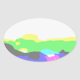 Waves of Contentment Oval Sticker