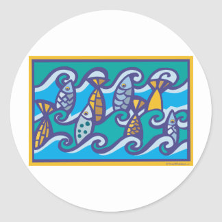 Waves of Fish Stickers