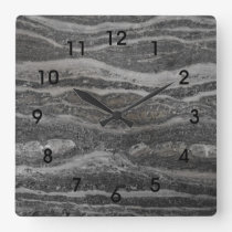 Waves of Gray Marble Black Numbers Square Wall Clock