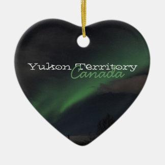 Waves of Green Light; Yukon Territory Souvenir Double-Sided Heart Ceramic Christmas Ornament