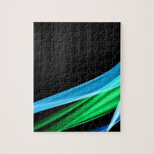 Waves of Light Green Against A Sliver Black Base Puzzles