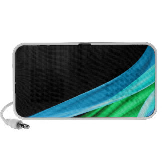 Waves of Light Green Against A Sliver Black Base PC Speakers