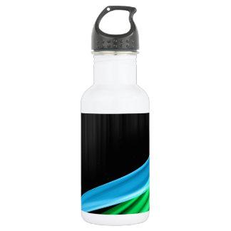 Waves of Light Green Against A Sliver Black Base Water Bottle