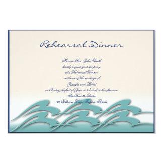 Waves of Love Navy Wedding Rehearsal Invite